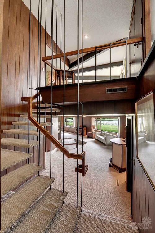 mid century stair case