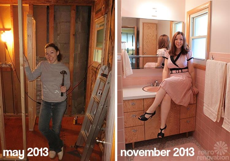 kate 39 s diy bathroom gut remodel 8 lessons learned retro renovation