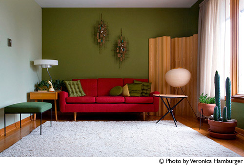 mid-century-living-room-with-red-sofa
