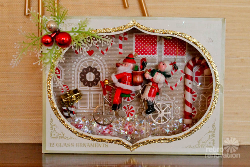 Christmas craft make shadow box dioramas using vintage for What to do with old christmas ornaments