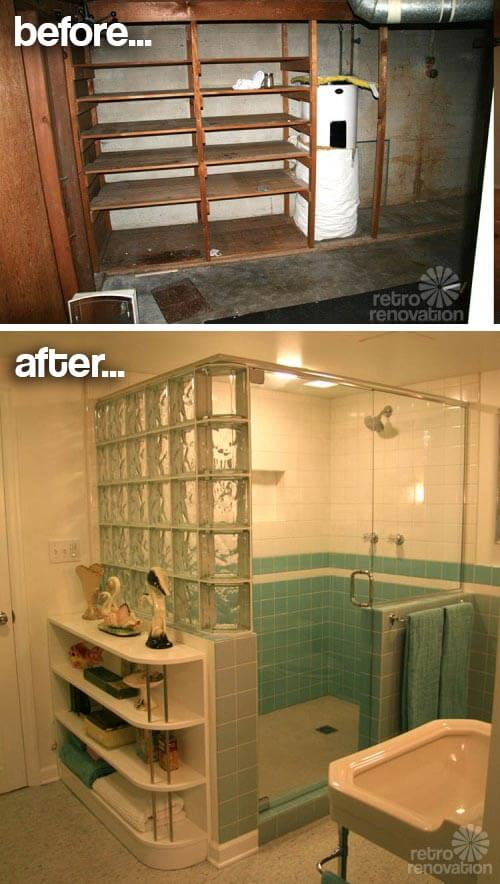 retro aqua bathroom before after