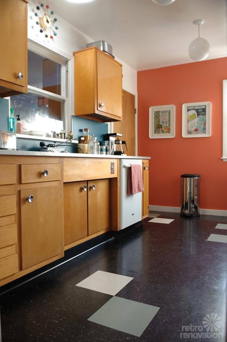 Sarah 39 s super economical retro kitchen remodel featuring - Mid century kitchen cabinets ...