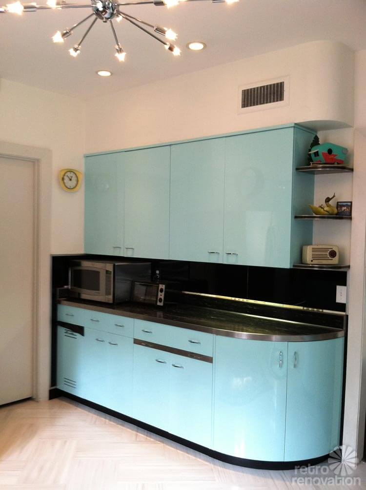 Vintage Aqua Kitchen Steel Cabinets