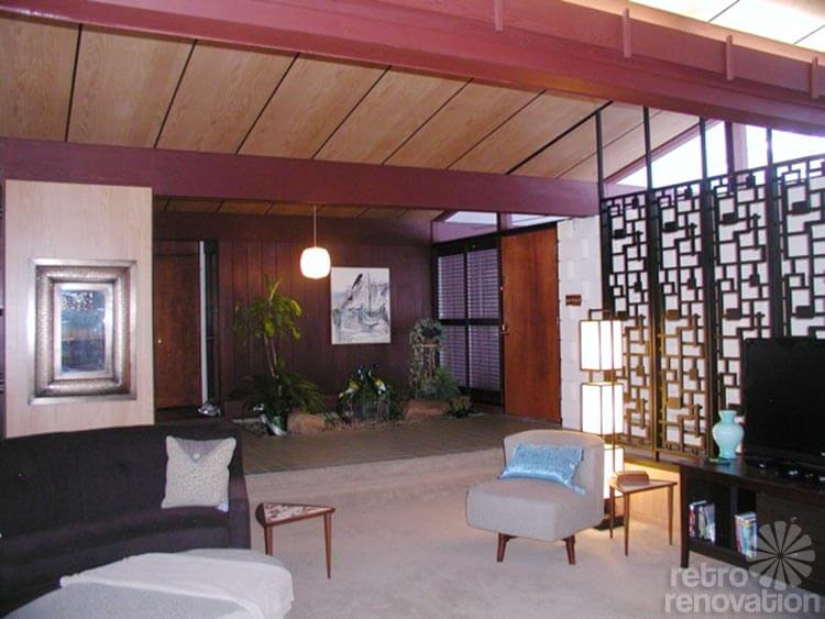 Retro Living Room With Brick Fireplace Paint Colors