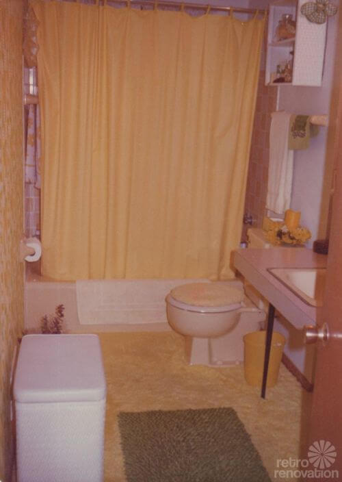 retro bathroom with carpet