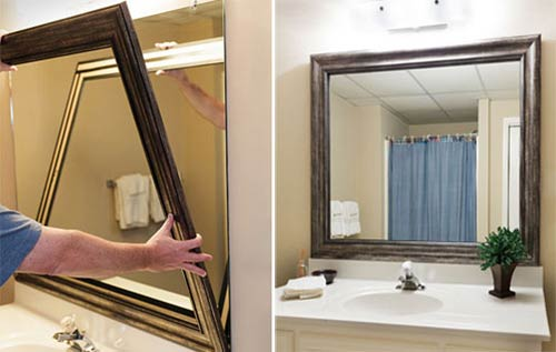 stick on bathroom mirror frame
