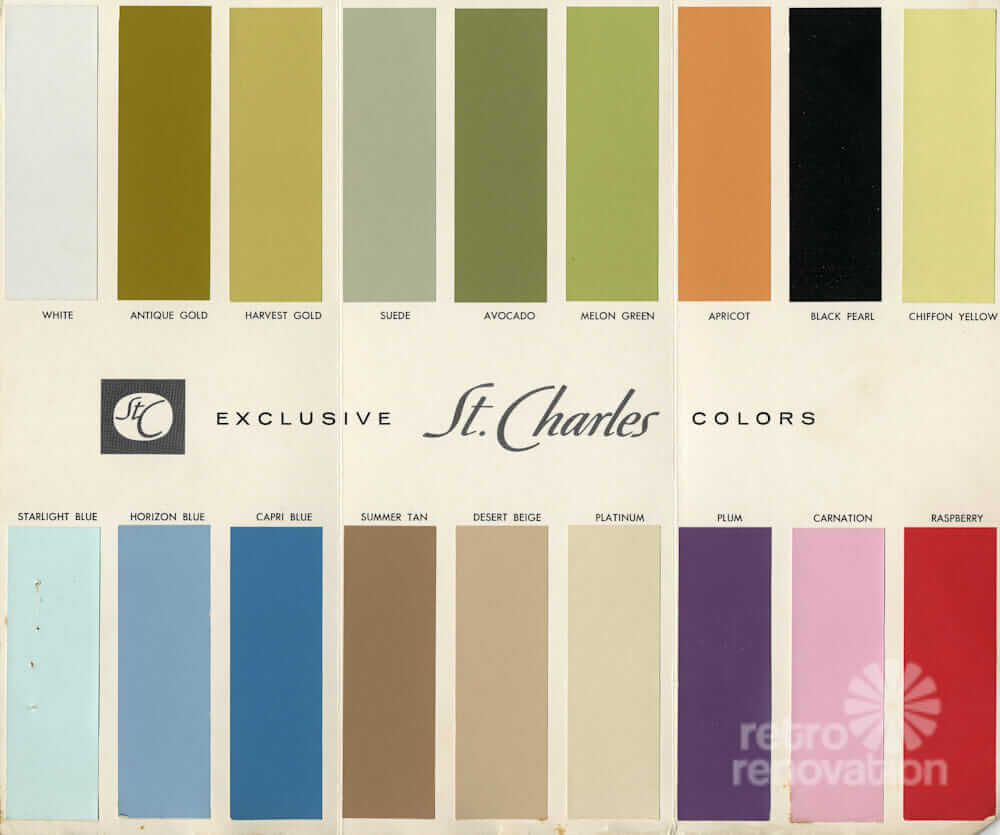 tri fold brochure showing the 18 paint colors available for st