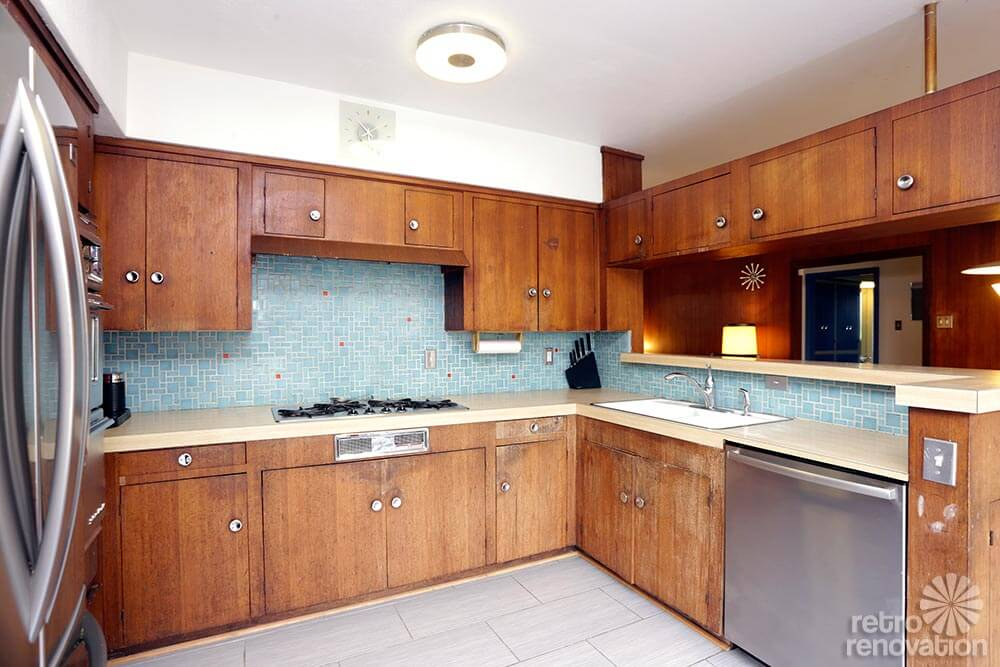Backsplash tile arbor heights marine view house pinterest for Mid century modern kitchen cabinets