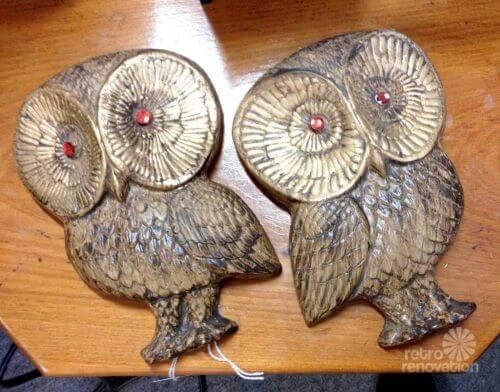 vintage owl plaques