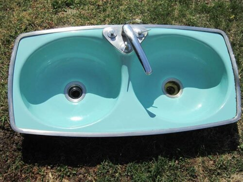 wodd wodder woddest 1966 aqua porcelain kitchen sink with egg shaped bowls and - Eljer Kitchen Sinks