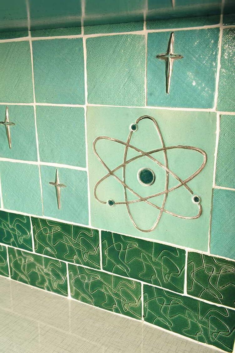 LuRus midcentury scifi dream kitchen with art tiles she makes – Retro Kitchen Tile