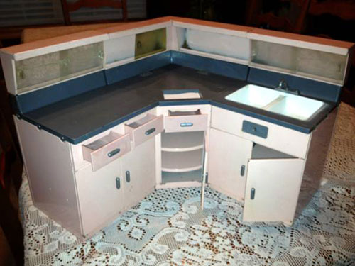 Simply Adorable Vintage Miniature Steel Kitchen Cabinets