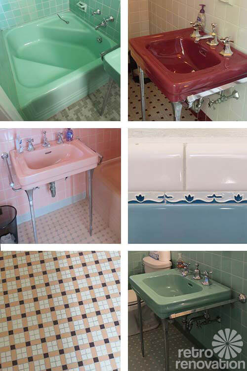 vintage pastel bathrooms