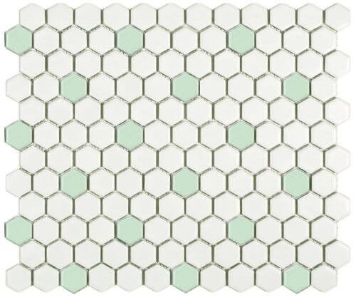 Green-and-white-mosaic-hex-tile