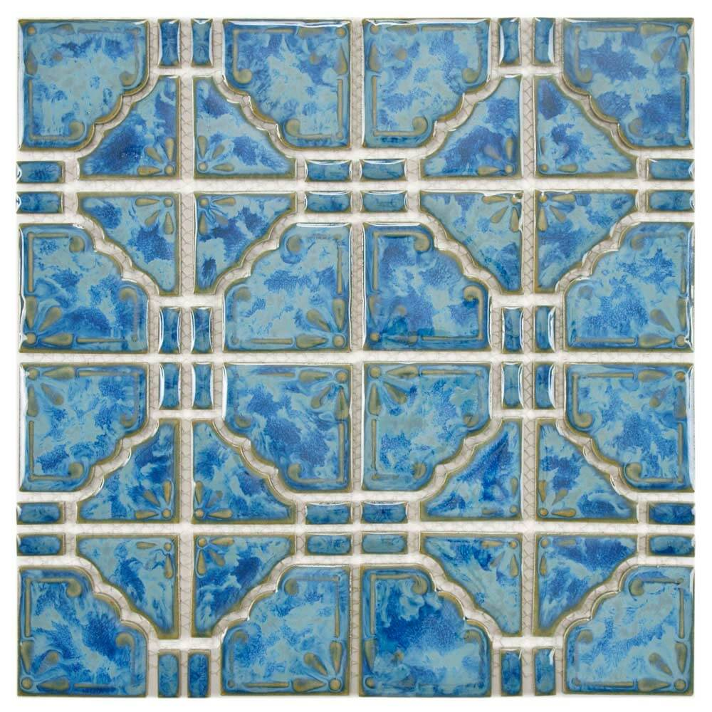 Earthy and colorful 1970s style wall and floor tile for Pool design 1970