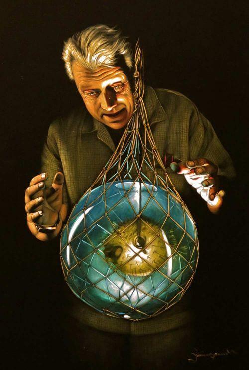 "Velveteria: The Museum of Velvet Paintings/TASCHEN Caption:Author Sven Kirsten supervising the photo shoot of his ""pufferfish in fishnet float"""