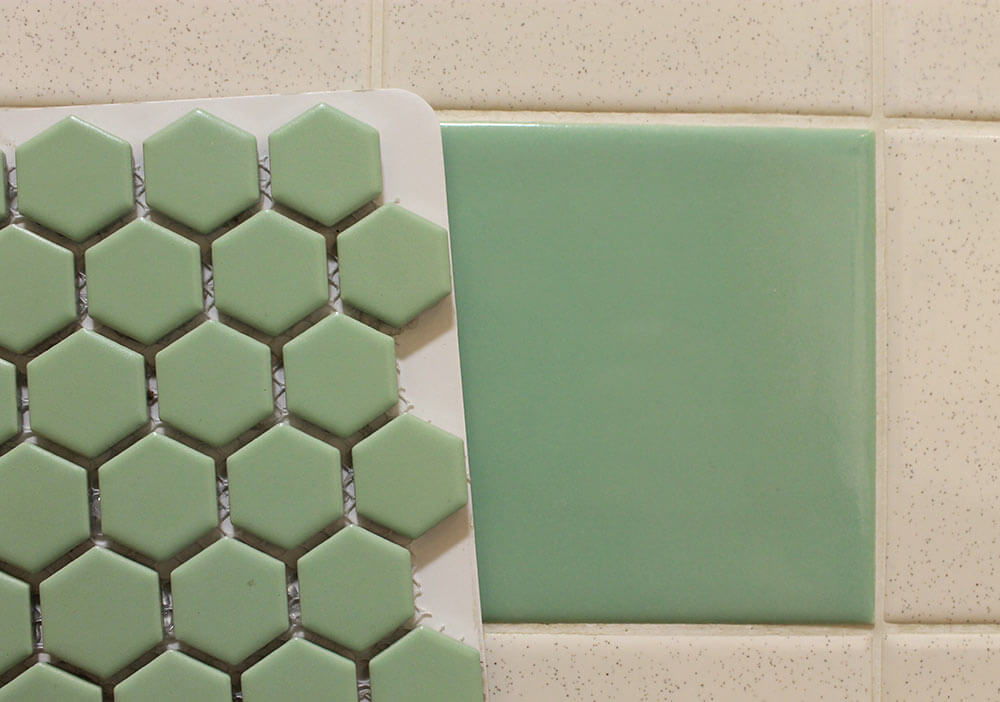 ... tile sample to my original green bathroom tiles. Holy moley, its a