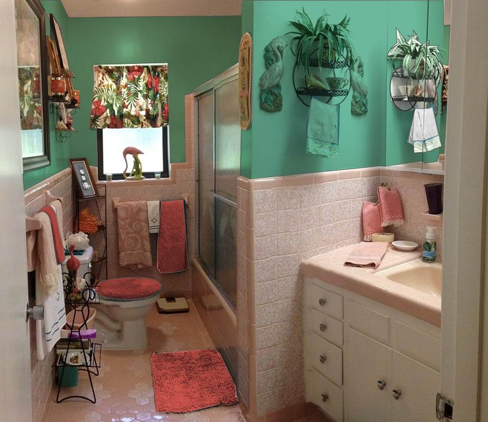 Vintage Pink Bathroom And Green My Web Value