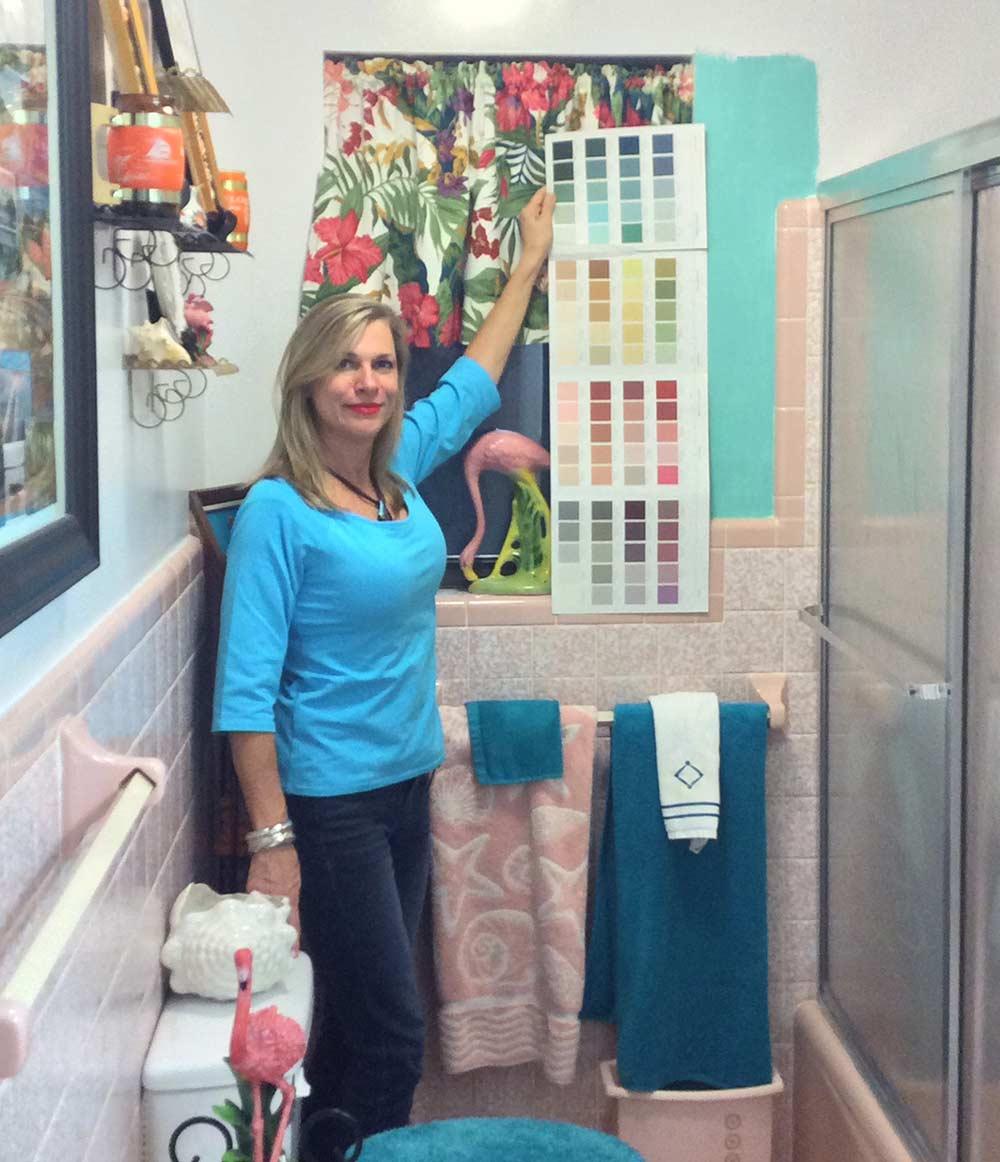 Diane In Pink Bathroom