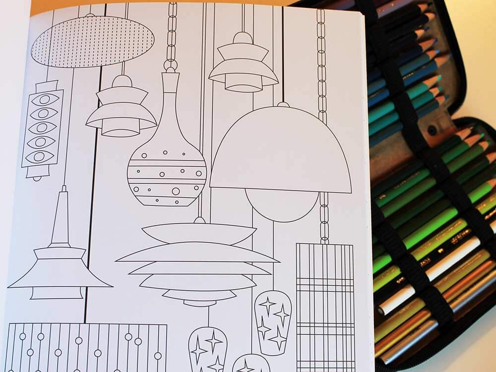 mid-century modern coloring books for adults