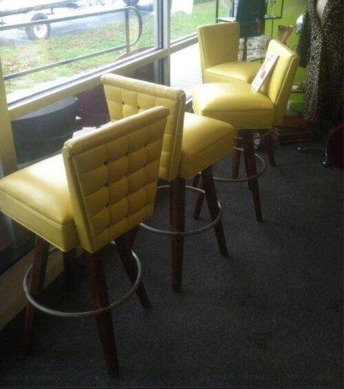 vintage bar stools flower power yellow