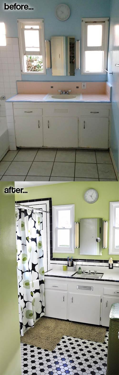 vintage bathroom before after
