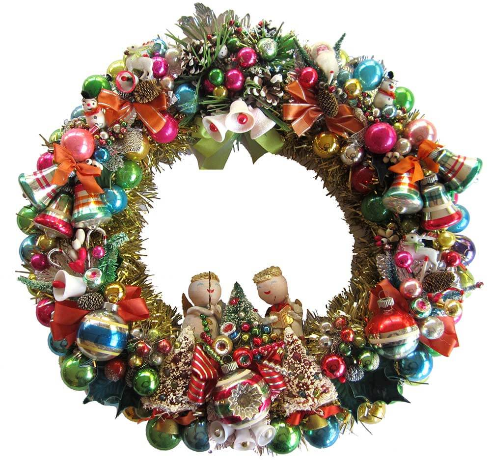 April Makes A Wreath Using 10 Vintage Christmas Corsages