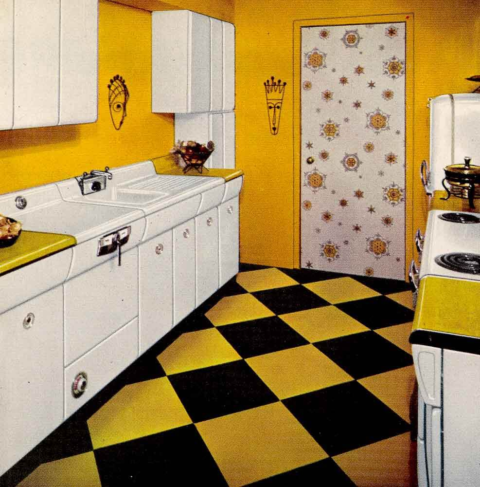 Yellow retro kitchens on pinterest yellow kitchens for 50s kitchen ideas
