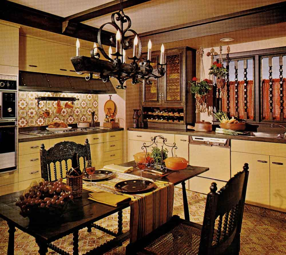 1970s kitchen design one harvest gold kitchen decorated for Kitchen decoration designs