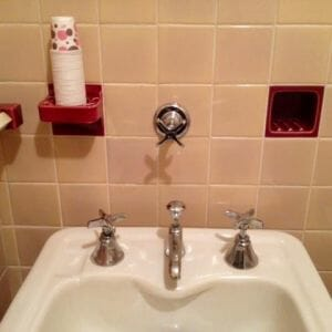 ice water faucet in bathroom