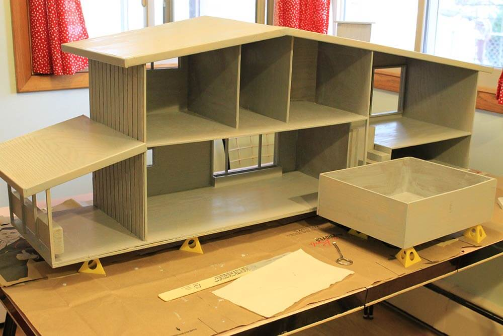 7 steps    and 70 hours    for Kates DIY dollhouse from scratch. Mid Century Inspired Doll House   Craftbnb