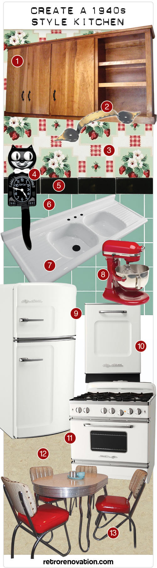create a 1940s or early 1950s design kitchen my second