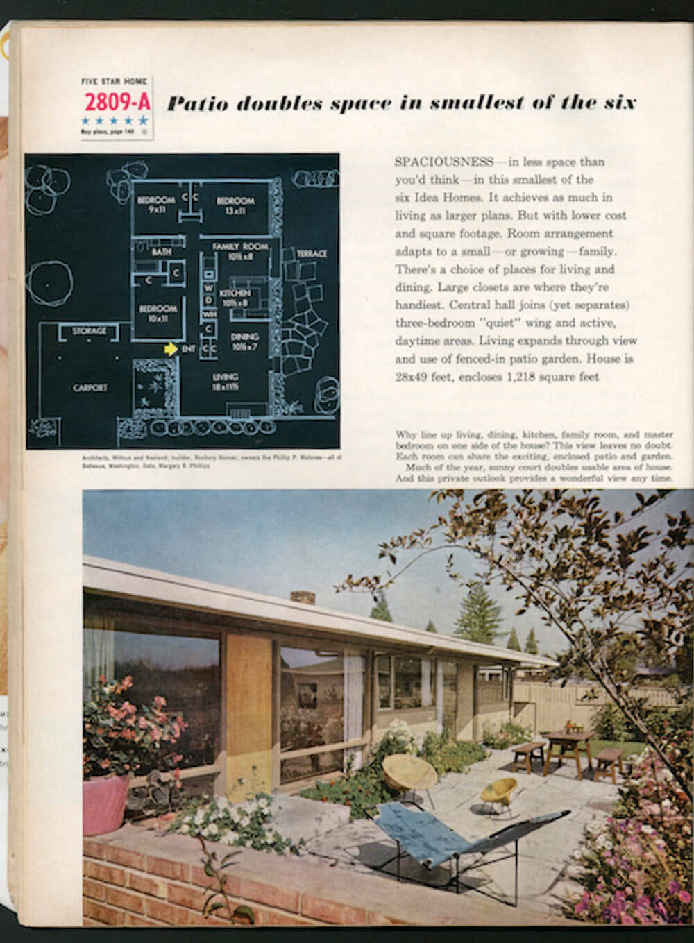 Better Homes Gardens 39 1958 Idea House Of The Year 39 By Omer Mithun Retro Renovation