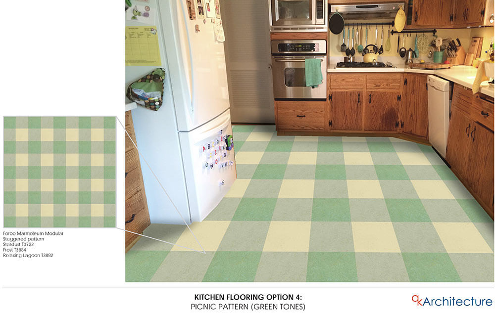 Diana 39 s 10 yes ten kitchen floor tile pattern mockups and the final choice tweaked some - Retro flooring kitchen ...