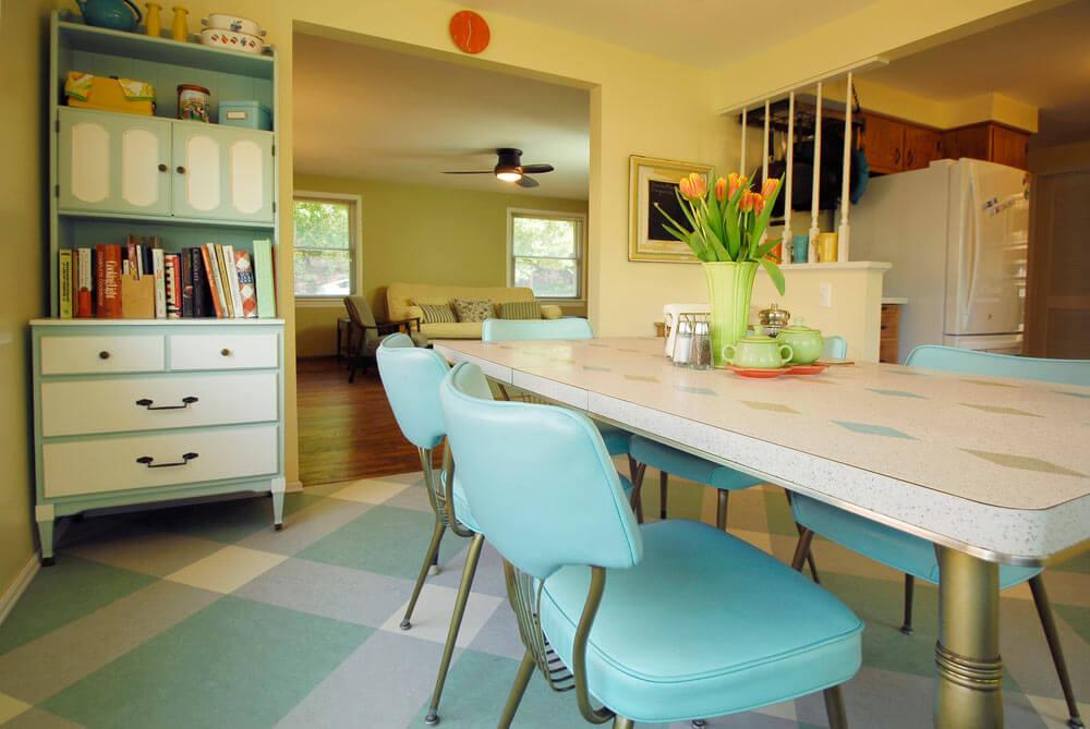 retro aqua kitchen
