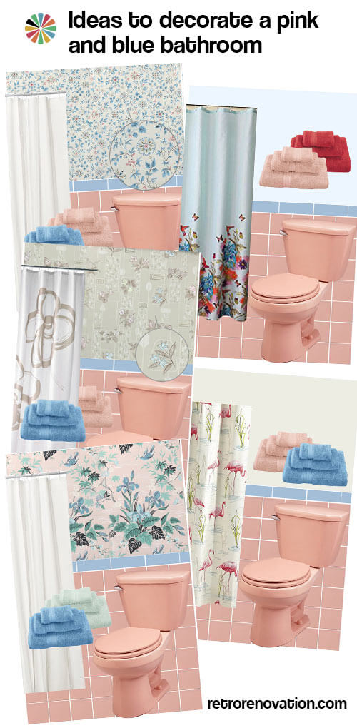13 Ideas To Decorate A Pink And Blue Tile Bathroom Retro