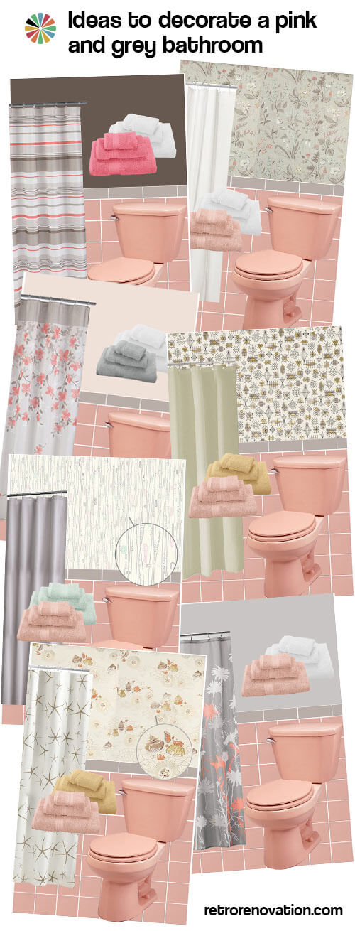 Gray and pink bathroom ideas for Pink and grey bathroom decor
