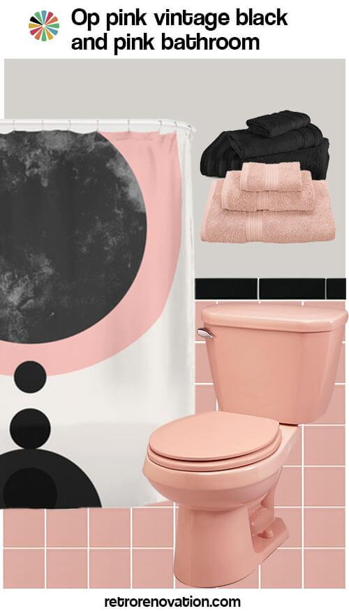 vintage pink and black bathroom