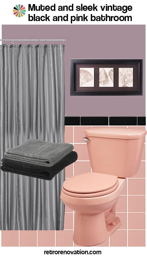 16 designs to decorate a pink and black bathroom retro for Pink black bathroom ideas