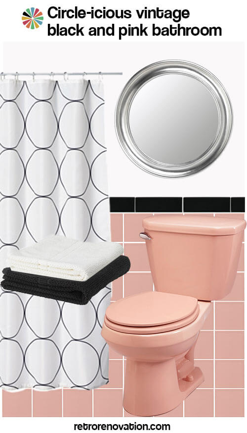 pink and black vintage bathroom
