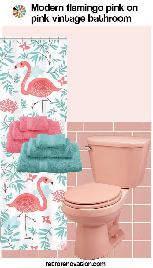 13 ideas to decorate an all pink tile bathroom pink for Pink retro bathroom ideas