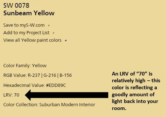 understand lrvs - light reflectance values of paint colors - to