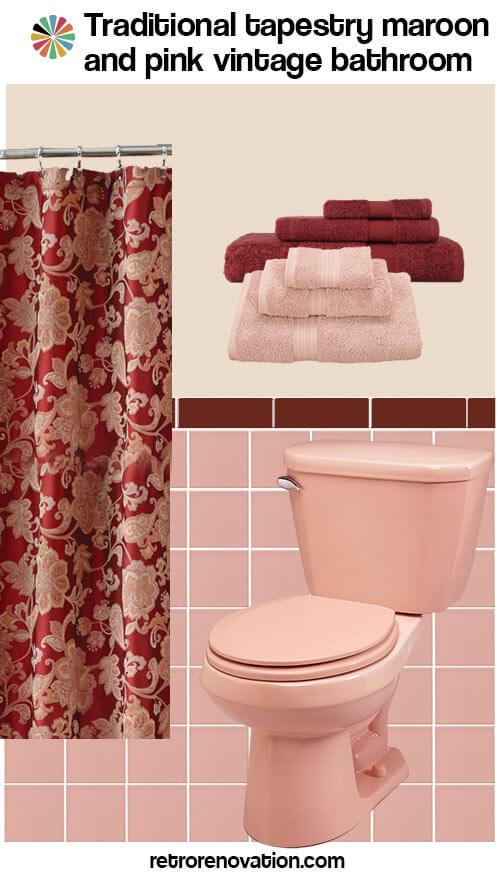 vintage pink and maroon bathroom