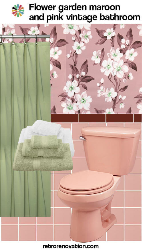 11 ideas to decorate a burgundy and pink bathroom retro for Pink retro bathroom ideas