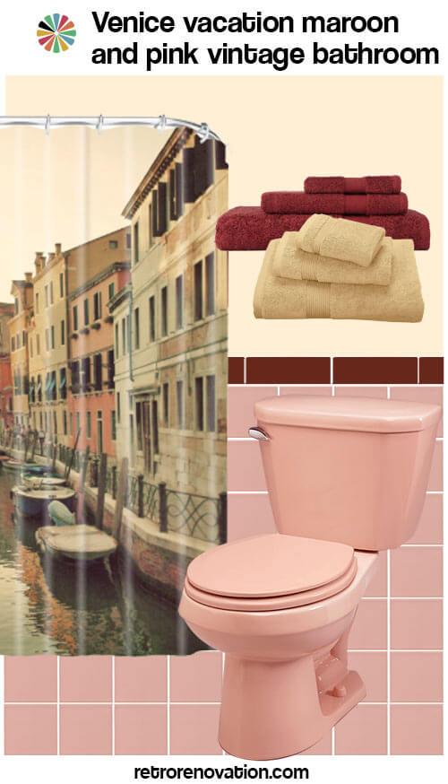 vintage maroon and pink bathroom
