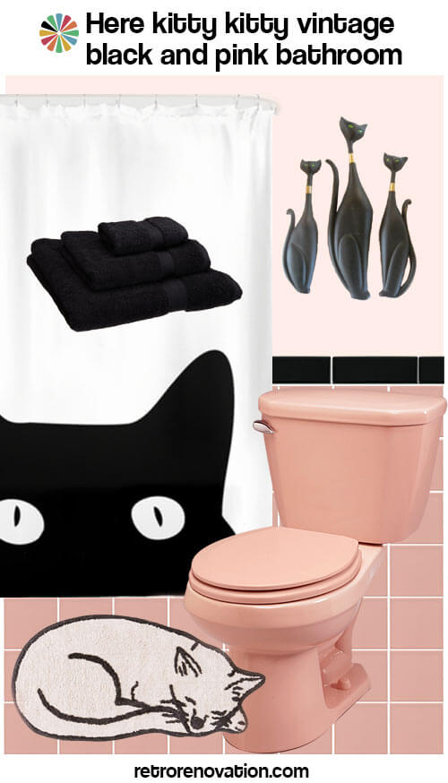 pink and black vintage bathroom