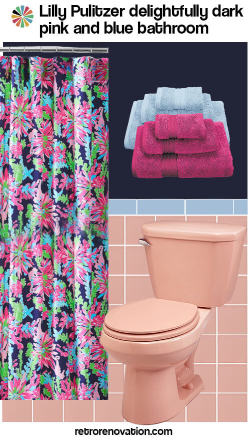13 ideas to decorate a pink and blue tile bathroom retro How to decorate a blue tile bathroom