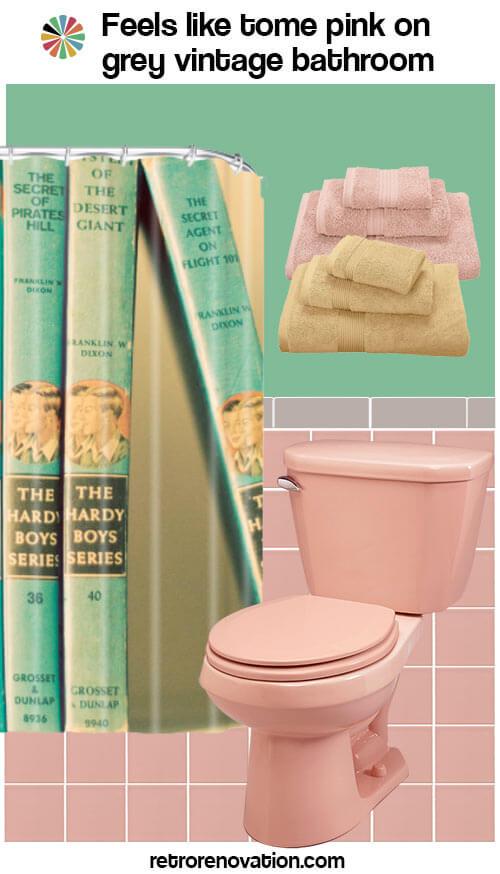vintage pink and grey bathroom