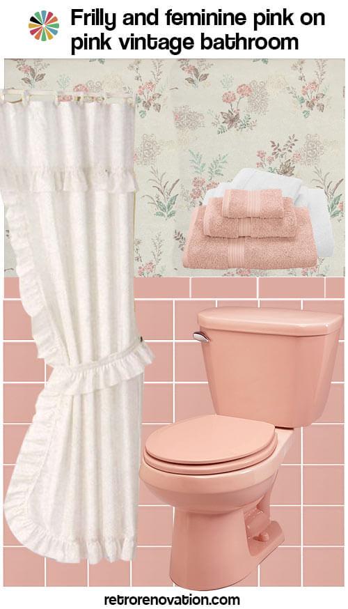 vintage pink on pink bathroom