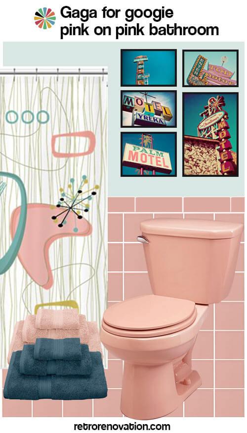 vintage pink bathroom design